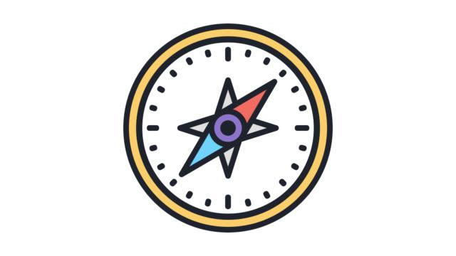 ol navigationserfahrung flache linie symbol animation mit alpha - kompass stock-videos und b-roll-filmmaterial