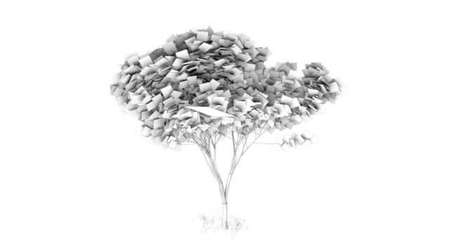 vidéos et rushes de origami oiseaux dans un arbre d'animation par le vent - origami