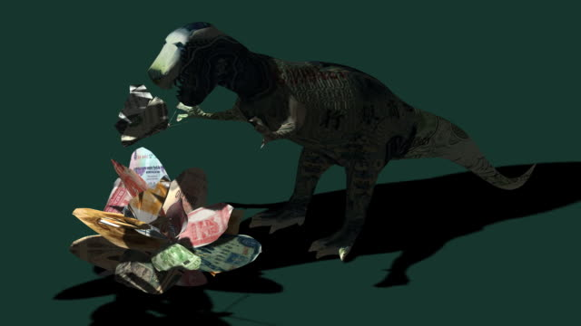 origami  dinosaur above banknote flower - extinct stock videos and b-roll footage