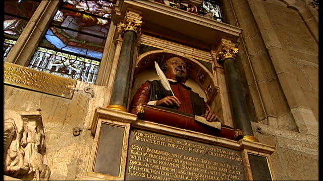 'original' portrait of william shakespeare unveiled england ext professor stanley wells interview sot holy trinity church int stained glass windows... - william shakespeare stock videos & royalty-free footage