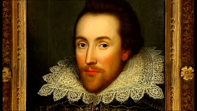 'Original' portrait of William Shakespeare unveiled ENGLAND INT Close ups and general views of portrait of William Shakespeare owned by the Cobbe...