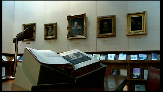 'original' portrait of william shakespeare unveiled reporter to camera washington dc folger shakespeare library rare book and paintings on wall close... - william shakespeare stock videos & royalty-free footage