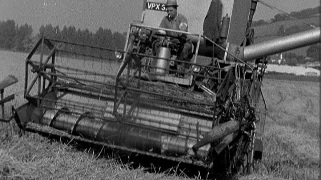 Origins of term 'Indian summer' VS150963002 / TX 1591963 Farningham B/W Combine harvester towards through field Reporter asking question SOT B/W Eric...