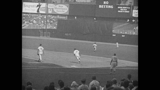 orioles visit the yankees, 1955. - baseball strip stock videos & royalty-free footage