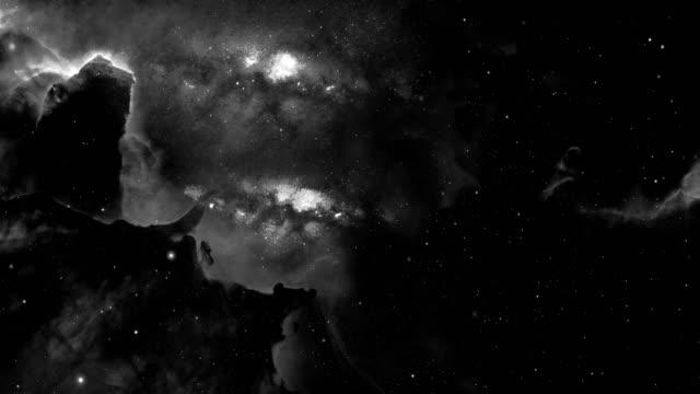 vídeos de stock e filmes b-roll de 4k orion nebula animation - black and white, space background - nebula