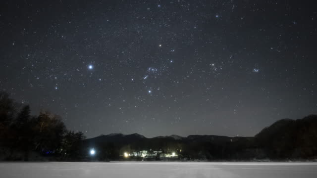 orion setting above the snowed ground - nagano prefecture stock videos & royalty-free footage