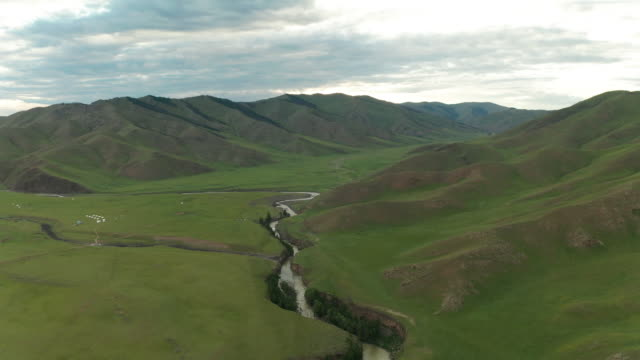 orkhon river valley in mongolia, aerial view - モンゴル点の映像素材/bロール