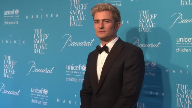 orlando bloom at 12th annual unicef snowflake ball at cipriani wall street on november 29 2016 in new york city - cipriani manhattan stock videos & royalty-free footage