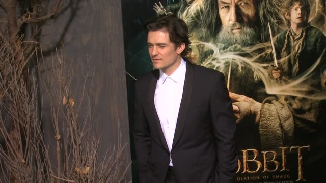 orlando bloom at the hobbit the desolation of smaug los angeles premiere in hollywood ca on 12/2/2013 - orlando bloom stock videos & royalty-free footage