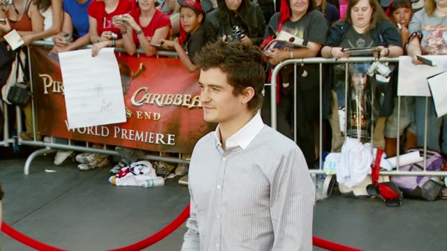 orlando bloom at the 'pirates of the caribbean at world's end' world premiere at disneyland in anaheim california on may 19 2007 - orlando bloom stock videos & royalty-free footage