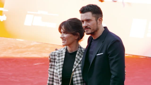 orlando bloom maya sansa at romans red carpet 12th rome film fest on november 04 2017 in rome italy - rome film fest stock videos and b-roll footage