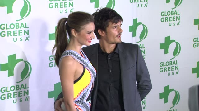 orlando bloom miranda kerr at global green usa's 10th annual preoscar party on 2/20/13 in los angeles ca - miranda kerr stock videos and b-roll footage
