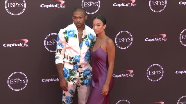 vídeos de stock, filmes e b-roll de orlando scandrick and draya michele at the 2018 espys at microsoft theater on july 18 2018 in los angeles california - espy awards