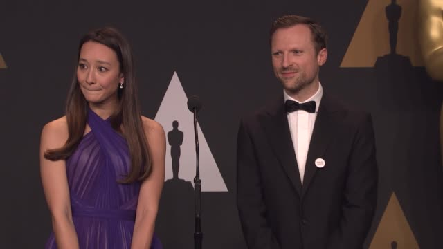 orlando von einsiedel and joanna natasegara at 89th annual academy awards - press room at hollywood & highland center on february 26, 2017 in... - hollywood and highland center stock videos & royalty-free footage