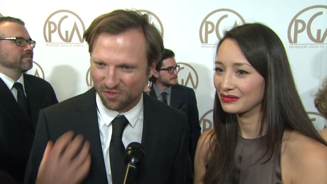 vidéos et rushes de orlando von einsiedel, joanna natasegara on being nominated for virunga at 26th annual producers guild awards in los angeles, ca 1/24/15 - producer's guild of america awards