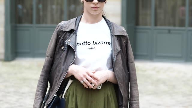 orlane lahmanes is wearing a giorgio jacket a ghetto bizarre tshirt and adidas shoes before the sean suen show during paris fashion week menswear... - bizarre fashion stock videos and b-roll footage