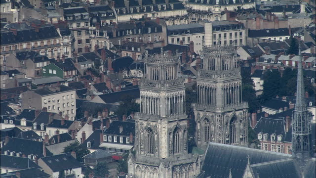orleans cathedral  - aerial view - centre, loiret, arrondissement d'orléans, france - cathedral stock videos & royalty-free footage