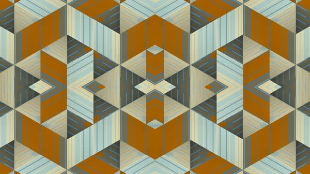 ornamental kaleidoscopic vj striped pattern. optical illusion futuristic backdrop. digital seamless loop animation. 3d rendering. 4k, ultra hd resolution - optical illusion stock videos & royalty-free footage