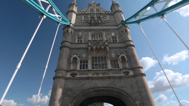 Ornate architecture characterizes the Tower Bridge.