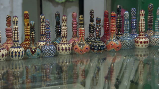CU Ornate bottles at store display in Grand Bazaar, Isfahan, Iran