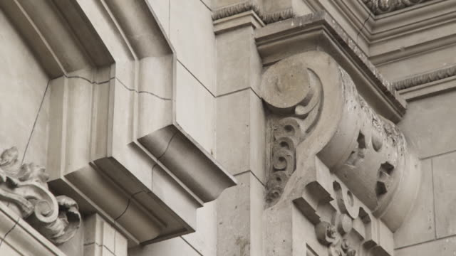 Ornate Carvings Cover A Doorway And Its Moldings Stock Footage Video