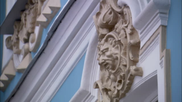 ornate carvings cover the doorways and mouldings in catherine palace. - ornate stock videos and b-roll footage