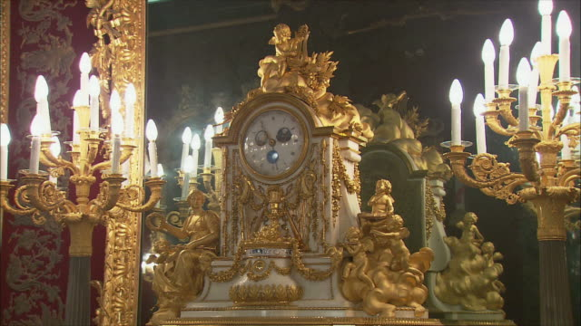 ms zo ornate clock, royal palace, madrid, spain - ornate stock videos & royalty-free footage