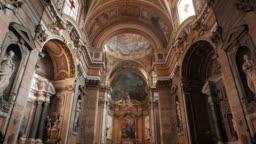 Ornate Frescoes In Church In Rome