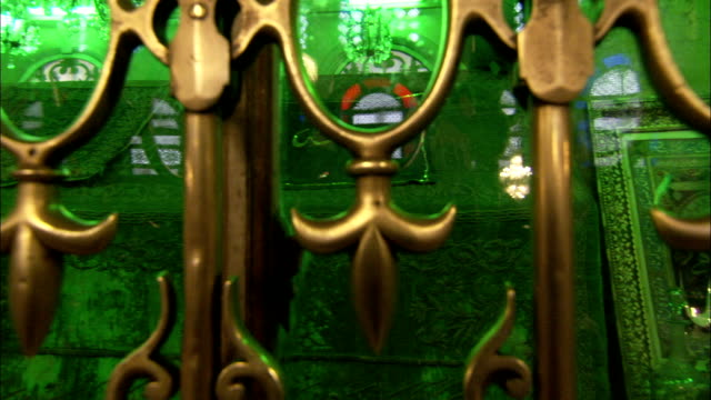 ornate green windows decorate the shrine believed to house the head of john the baptist in the umayyard mosque damascus. available in hd. - fleur de lys stock videos & royalty-free footage