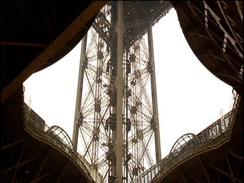 ornate iron work on eiffel tower paris - ornate stock videos & royalty-free footage