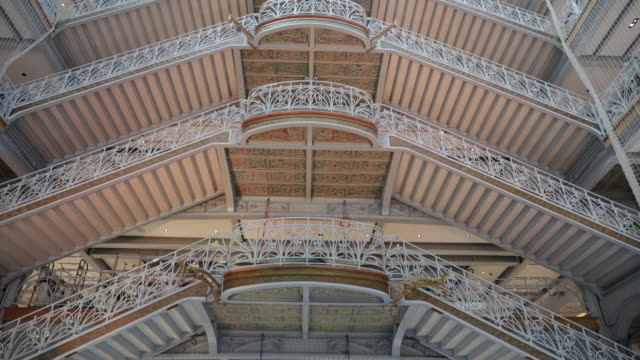 ornate staircase of la samaritaine department store after decade-long renovation, paris, france, on tuesday, nov 19, 2019. - department store stock videos & royalty-free footage