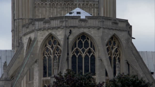 ornate stonework decorates norwich cathedral. available in hd. - norfolk england stock videos and b-roll footage