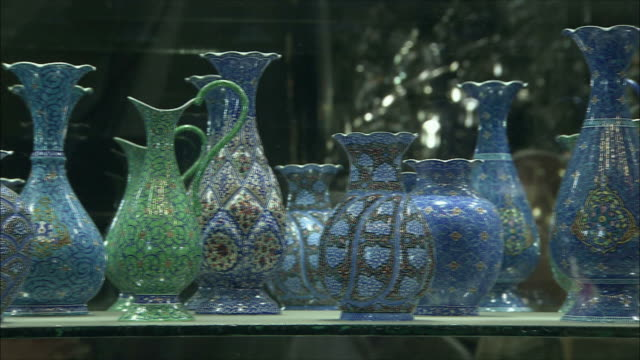 CU PAN Ornate vases at store display in Grand Bazaar, Isfahan, Iran