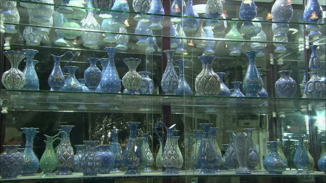 MS Ornate vases at store display in Grand Bazaar, Isfahan, Iran