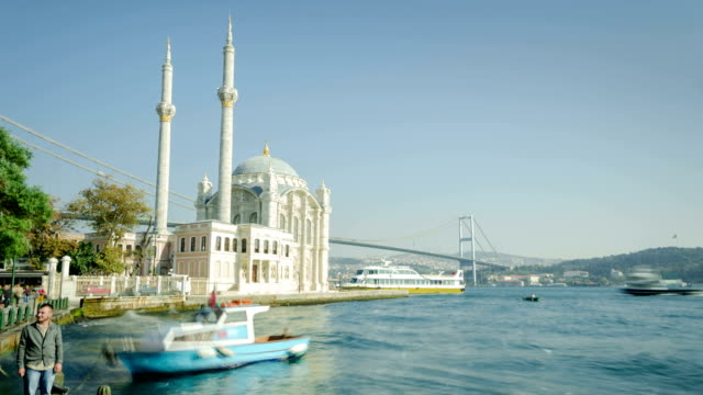 time lapse: ortakoy and bosphorus istanbul - ortakoy mosque stock videos and b-roll footage