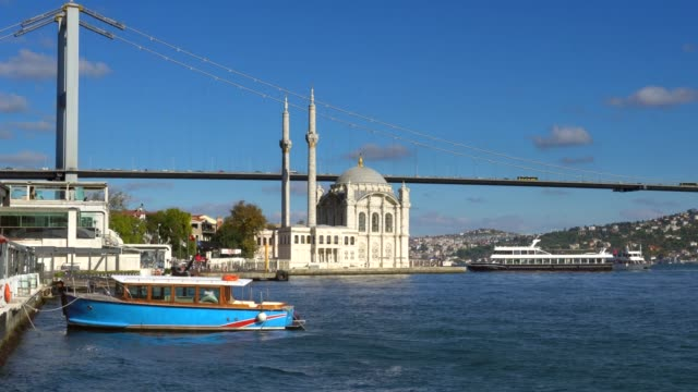 ortakoy mosque and bosphorus bridge in i̇stanbul bosphorus. - july 15 martyrs' bridge stock videos & royalty-free footage