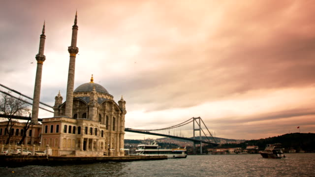 ortakoy mosque and bosphorus istanbul - bosphorus stock videos & royalty-free footage