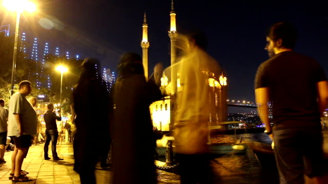 hd: ortakoy mosque ** time lapse ** - ortakoy mosque stock videos and b-roll footage