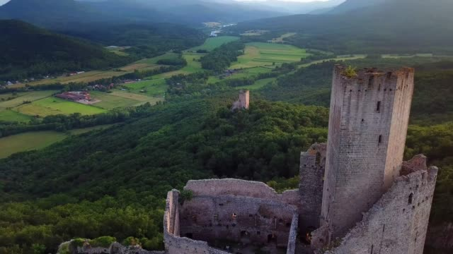 ortenbourg castle aerial view from drone - festung stock-videos und b-roll-filmmaterial