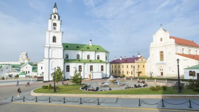 orthodox cathedral of the holy spirit, trinity district, minsk, belarus - time lapse - belarus stock videos & royalty-free footage