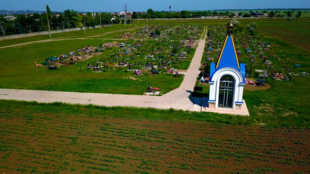 Orthodox cemetery with a small chapel
