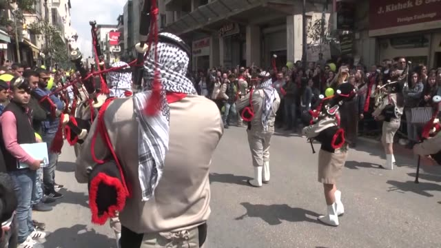 orthodox christians attend the 'holy fire' parade on holy saturday ahead the easter at the church of the holy sepulchre in ramallah west bank on... - ramallah stock videos and b-roll footage