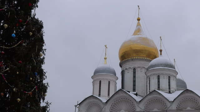 orthodox church under the snow at the kremlin - onion dome stock videos and b-roll footage