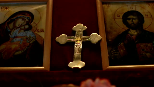 orthodox cross and icons - symbol stock videos & royalty-free footage