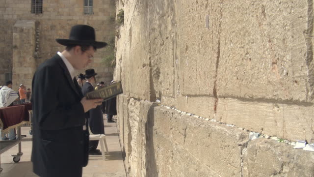 stockvideo's en b-roll-footage met ms pan orthodox jews praying at wailing wall / jerusalem, israel - orthodox jodendom