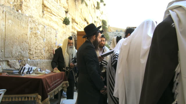 MS Orthodox Jews praying at Western Wall in old city of Jerusalem / Jerusalem, Judea, Israel