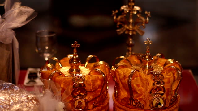 vídeos de stock e filmes b-roll de orthodox religious crown - antiguidades