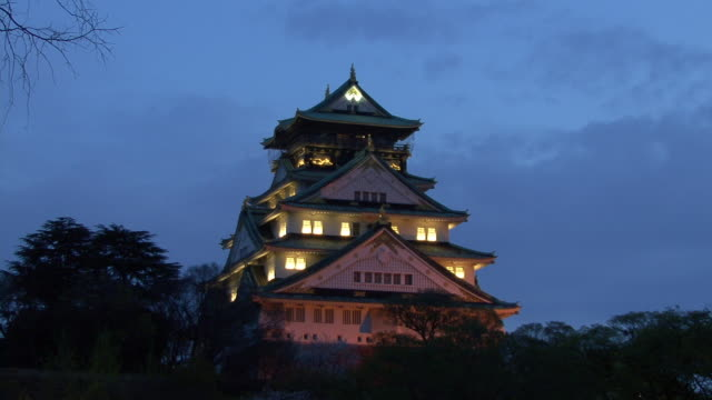 MS, Osaka Castle at dusk, Osaka, Japan