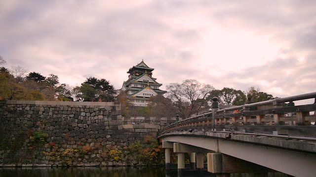 osaka castle, osaka, japan - moat stock videos and b-roll footage