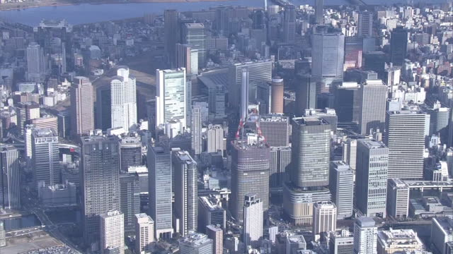 aerial, osaka city center, japan - 大阪駅点の映像素材/bロール